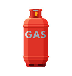 Red propane gas cylinder camping gas bottle vector