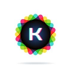 Retro bright colors Logotype Letter K vector