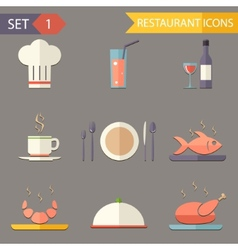 retro flat restaurant Icons and Symbols set vector image