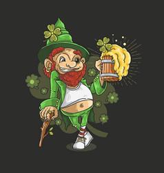 saint patricks day mascot love beer party vector image