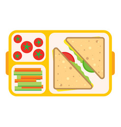 school food and lunch meal plastic box vector image
