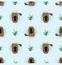 Seamless pattern with cute cartoon platypus vector