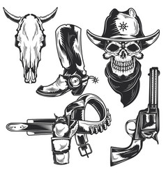 set cowboy elements vector image