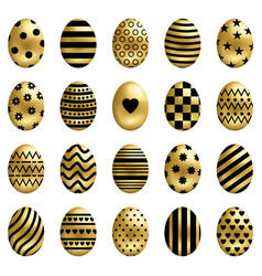 set golden easter eggs isolated on white vector image