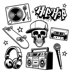 Set hip hop culture objects vector