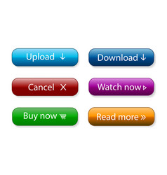 set modern material style buttons with text vector image