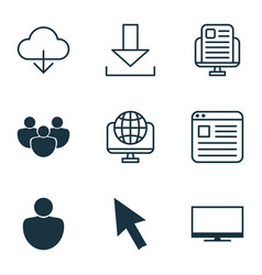 Set of 9 world wide web icons includes computer vector