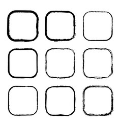 set of black painted frames of squares vector image