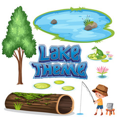 Set of lake theme vector