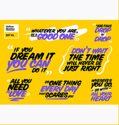 Set of motivational quotes inspiring short vector