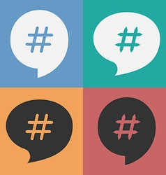 Set of speech bubbles with hash tag vector