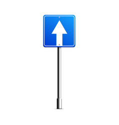 shield road sign with arrow mockup realistic vector image