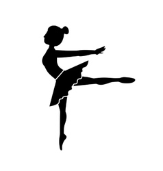 Silhouette dancer pose fourth arabesque vector