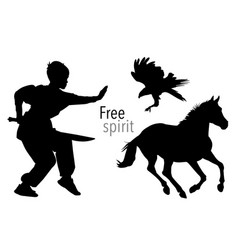 silhouettes of boy horse and eagle vector image