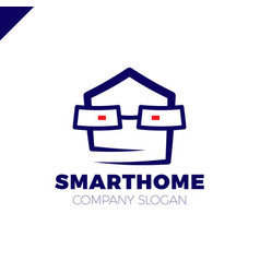 smart home logo design template head with glass vector image