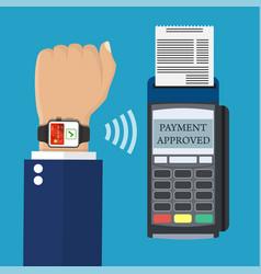 Smart watch pos terminal payment vector