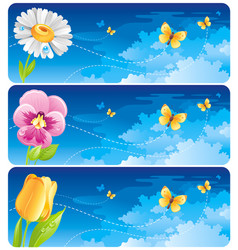 spring banner set easter mothers day birthday vector image