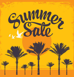 summer sale banner with a hot tropical landscape vector image