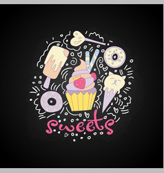 Sweet fun cartoon cupcake with colored frosting vector