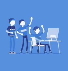 Teens fun at computer vector