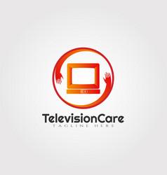 Television care logo designtechnology icon vector