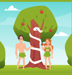 Temptation of adam and eve with forbidden fruit vector
