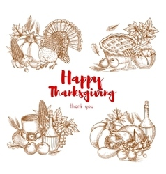 Thanksgiving holiday sketch symbols set vector