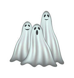 Three ghosts in light design with face vector