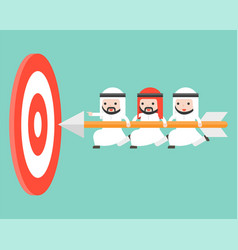 tiny arab businessmen carrying arrow to reach vector image