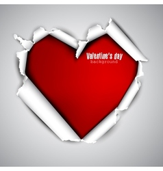 Torn paper with space for text Red heart vector image