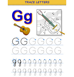 tracing letter g for study alphabet printable vector image