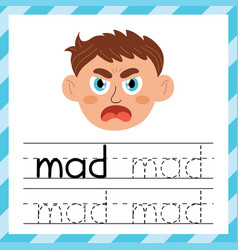 Tracing words worksheet - mad learning material vector