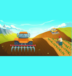 Tractor plowing farm field traditional agriculture vector
