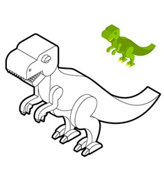 Tyrannosaurus coloring book Dinosaur isometric vector