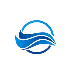 Water wave abstract ocean logo vector