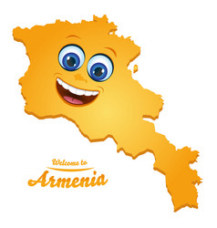 Welcome to armenia smiley map vector