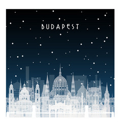 winter night in budapest night city in flat style vector image vector image