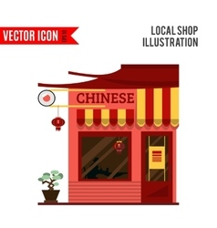 Chinese detailed flat design restaurant icon vector image vector image