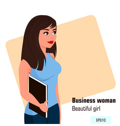 Young cartoon business woman with file wearing vector