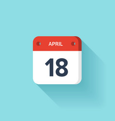 April 18 Isometric Calendar Icon With Shadow vector image vector image