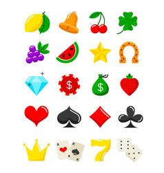 bright casino flat icons slot-machine symbols vector image