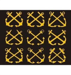Crossed anchors set vector image vector image