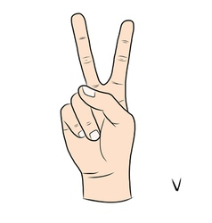Sign language and the alphabetThe Letter v vector image vector image