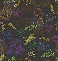Thanksgiving seamless pattern color sketch doodle vector image