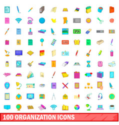 100 organisation icons set cartoon style vector image