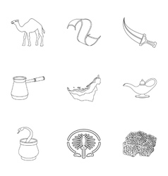 Arab Emirates set icons in outline style Big vector image