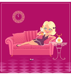 cartoon blondy girl vector image vector image