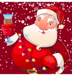 cute Santa with wineglass vector image