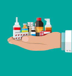 different medical pills and bottles vector image
