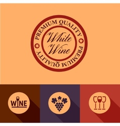 flat wine menu icons vector image vector image
